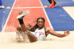 April 27, 2018 - Philadelphia, Pennsylvania, U.S - TONYECIA BURNS, of Houston University, in action in the CW triple jump championship at the 124th running of the Penn Relays at Franklin Field in Philadelphia PA (Credit Image: © Ricky Fitchett via ZUMA Wire)