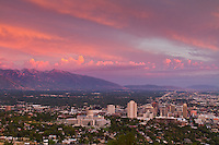 Summertime sunset over Salt Lake City, Utah.