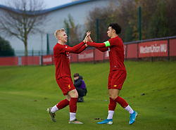 KIRKBY, ENGLAND - Wednesday, November 27, 2019: Liverpool's Luis Longstaff (L) celebrates scoring the fifth goal with team-mate captain Curtis Jones during the UEFA Youth League Group E match between Liverpool FC Under-19's and SSC Napoli Under-19's at the Liverpool Academy. (Pic by David Rawcliffe/Propaganda)