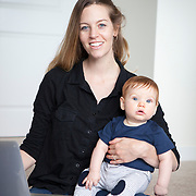 "Laurie Pickard, sits with her 6 month-old twin, Owen, in her Alexandria apartment, on Thursday, August 31, 2017. Pickard earned an M.B.A utilizing free online courses from a variety of prestigious universities. Furthermore, she started a website called nopaymba.com that is a resource for anyone seeking to do the same. Her book, called ""Don't Pay for Your M.B.A"" will be published in October. CREDIT: John Boal for The Wall Street Journal"