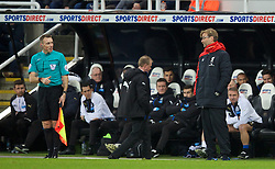 NEWCASTLE-UPON-TYNE, ENGLAND - Sunday, December 6, 2015: Liverpool's manager Jürgen Klopp argues with the linesman during the Premier League match against Newcastle United at St. James' Park. (Pic by David Rawcliffe/Propaganda)
