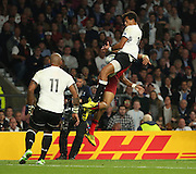 Fiji's Fly Half Ben Volavola stoppig an almost certain try for England's Wing Anthony Watson during the Rugby World Cup Pool A match between England and Fiji at Twickenham, Richmond, United Kingdom on 18 September 2015. Photo by Matthew Redman.
