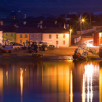 Portmagee Village and Harbour Panorama at Night / County Kerry Ireland / pm006