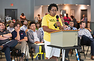 Sharon Lavigne, director of RISE St. James, speaking at a Louisiana's Department of Environmental Quality's  public hearing on whether to approve the 15 air permits for Taiwanese company Formosa Plastics in Vacherie, LA. on July 9, 2019.