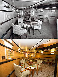 "© Licensed to London News Pictures. 30/09/2016. Birkenhead UK. Top collect picture shows the lower saloon of the Daniel Adamson in 1936, bottom picture shows the lower saloon today. The Daniel Adamson steam boat has been bought back to operational service after a £5M restoration. The coal fired steam tug is the last surviving steam powered tug built on the Mersey and is believed to be the oldest operational Mersey built ship in the world. The ""Danny"" (originally named the Ralph Brocklebank) was built at Camel Laird ship yard in Birkenhead & launched in 1903. She worked the canal's & carried passengers across the Mersey & during WW1 had a stint working for the Royal Navy in Liverpool. The ""Danny"" was refitted in the 30's in an art deco style. Withdrawn from service in 1984 by 2014 she was due for scrapping until Mersey tug skipper Dan Cross bought her for £1 and the campaign to save her was underway. Photo credit: Andrew McCaren/LNP"