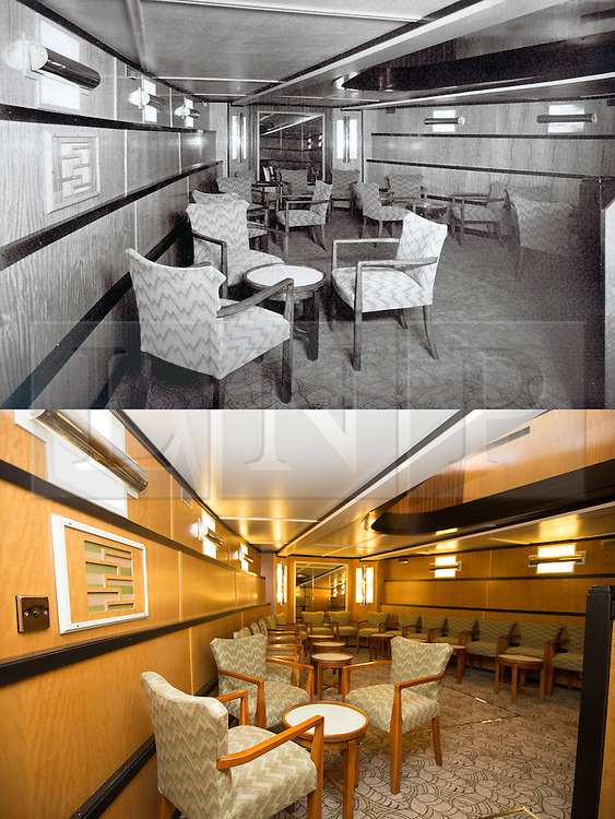 """© Licensed to London News Pictures. 30/09/2016. Birkenhead UK. Top collect picture shows the lower saloon of the Daniel Adamson in 1936, bottom picture shows the lower saloon today. The Daniel Adamson steam boat has been bought back to operational service after a £5M restoration. The coal fired steam tug is the last surviving steam powered tug built on the Mersey and is believed to be the oldest operational Mersey built ship in the world. The """"Danny"""" (originally named the Ralph Brocklebank) was built at Camel Laird ship yard in Birkenhead & launched in 1903. She worked the canal's & carried passengers across the Mersey & during WW1 had a stint working for the Royal Navy in Liverpool. The """"Danny"""" was refitted in the 30's in an art deco style. Withdrawn from service in 1984 by 2014 she was due for scrapping until Mersey tug skipper Dan Cross bought her for £1 and the campaign to save her was underway. Photo credit: Andrew McCaren/LNP"""