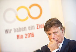 15.10.2014, Bel-Etage, Wien, AUT, Bundesregierung, Gemeinsame Pressekonferenz von Sportministerium und dem Österreichischen Olympischen Comite zur Kaderbekanntgabe für die Olympischen Spiele 2016 in Rio, im Bild ÖOC Chef-Koordinator Peter Schröcksnadel // Coordinator of the international olympic committee of austria Peter Schroecksnadel during press conference of sport ministry and International Olympic Committee of austria about the olympic games in Rio at cafe landtmann in Vienna, Austria on 2014/10/15, EXPA Pictures © 2014, PhotoCredit: EXPA/ Michael Gruber