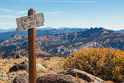 """Mt Lola Sign"" - Photograph of the Mt. Lola peak sign, Castle Peak can be seen in the background."