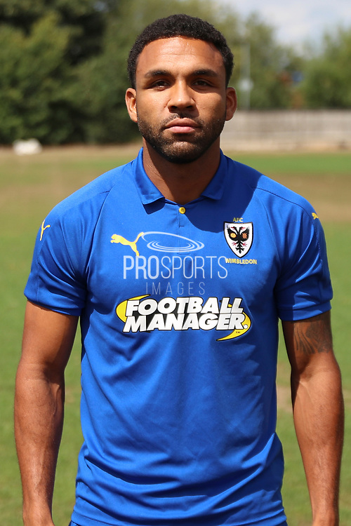 AFC Wimbledon striker Andy Barcham (17) during the AFC Wimbledon 2018/19 official photocall at the Kings Sports Ground, New Malden, United Kingdom on 31 July 2018. Picture by Matthew Redman.