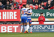 Reading striker Yann Kermorgant (29) scores to make it 1-0 and celebrates during the Sky Bet Championship match between Charlton Athletic and Reading at The Valley, London, England on 27 February 2016.