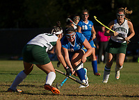 Gilford's Jill LaChapelle makes a pass during NHIAA Division III field hockey with Newfound on Thursday afternoon.  (Karen Bobotas/for the Laconia Daily Sun)
