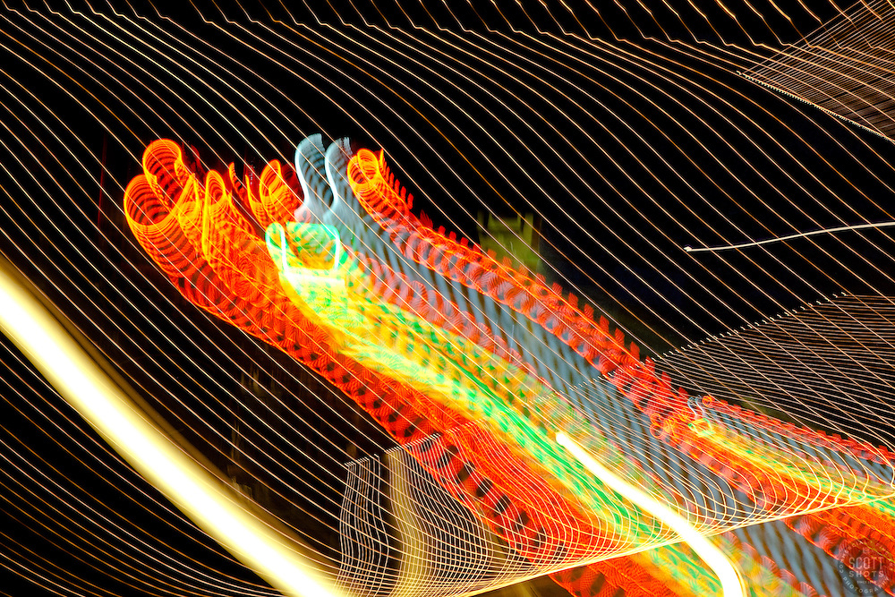 """""""Espresso"""" - This abstract photograph of a neon espresso sign in Downtown Truckee, CA was achieved by moving the camera's lens during a long exposure."""