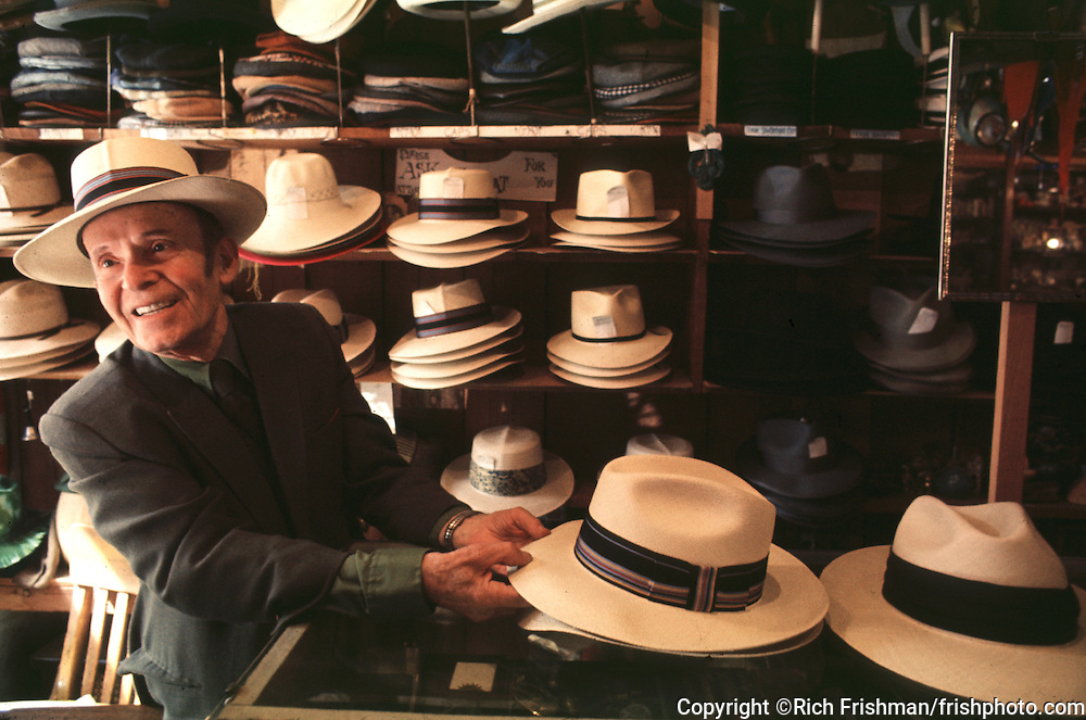 Photograph of Panama Joe in his hat shop in San Francisco's North Beach neighborhood..©Rich Frishman.