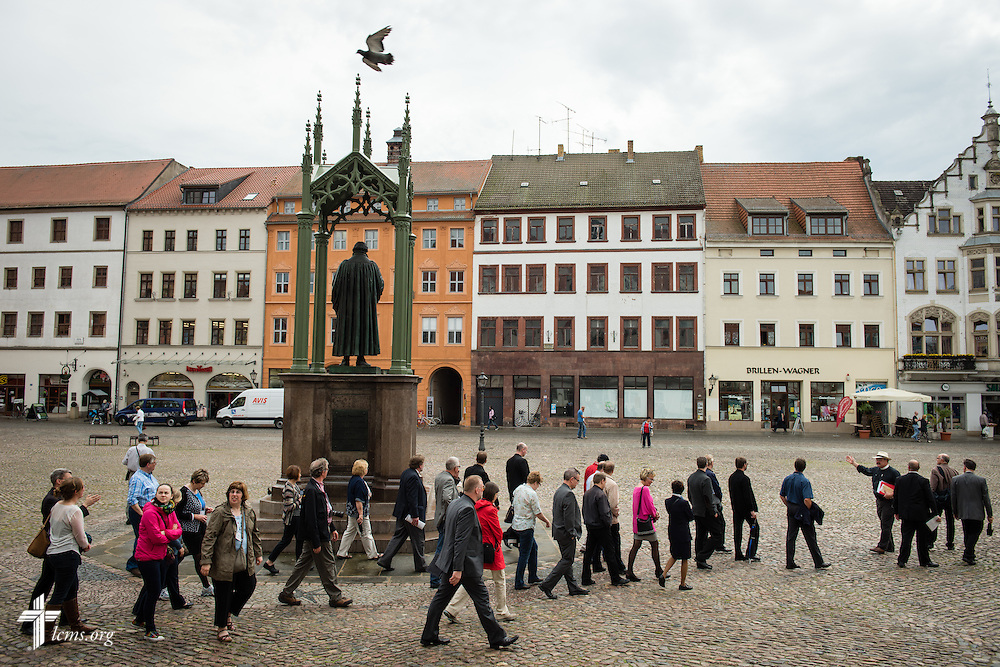 The Rev. Dr. Matthew C. Harrison, president of The Lutheran Church–Missouri Synod, leads a tour of Wittenberg, Germany, on Tuesday, May 5, 2015. LCMS Communications/Erik M. Lunsford