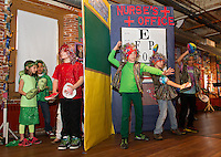 "Gilford Elementary students perform their skit ""Feel the Moment with Poetry"" during opening night for Arts Alive at the Belknap Mill Thursday evening.    (Karen Bobotas/for the Laconia Daily Sun)"