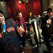 """December 5, 2013 - New York, NY: The cast of the NBC musical drama television series """"Smash"""" including, foreground from left, Jeremy Jordan and Andy Mientus, rehearse at Smash Studios at 36th Street in Manhattan on Thursday afternoon in preparation for their cabaret performance of """"HIT LIST,"""" which will premiere Sun, Dec 8 at 54 Below. Also pictured, in background from left, are Jennifer Ashley Tepper (director of programming for 54 Below), Benjamin Rauhala (pianist), Shannon Ford (drums), and Charlie Rosen (guitar). CREDIT: Karsten Moran for The New York Times **THIS IMAGE IS A CROP VARIATION**"""