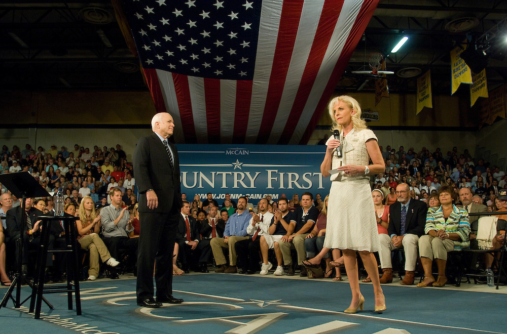 Cindy McCain, wife of Republican Presidential candidate, Sen. John McCain, R-Ariz., introduces her husband to the crowd at a town hall meeting at Reed High School in Sparks, Nev., Tuesday morning, July 29, 2008...Photo by David Calvert/Bloomberg News
