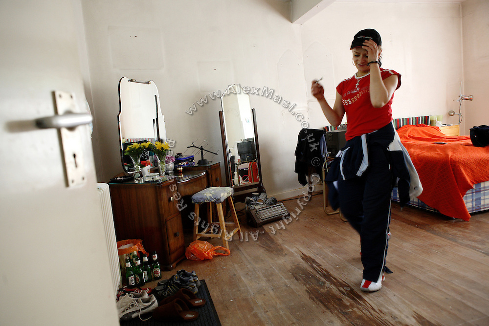 The same room in the Wildwood Road mansion is photographed after the squatters has made repairs and transformed it into an habitable space, on Thursday, June 28, 2007, in Hampstead, London, England. Daniela, 26, from Romania, who is now living in the room, is proud of her achievements. Situated opposite Hampstead Heath, North London's green jewel the average price for properties on this road reaches £ 2,500,000. Million Dollar Squatters is a documentary project in the lives of a peculiar group of squatters residing in three multi-million mansions in one of the classiest residential neighbourhoods of London, Hampstead Garden. The squatters' enthusiasm, their constant efforts to look after what has become their home, their ingenuity and adventurous spirit have all inspired me throughout the days and nights spent at their side. Between the fantasy world of exclusive Britain and the reality of squatting in London, I have been a witness to their unique story. While more than 100.000 properties in London still lay empty to this day, squatting provides a valid, and lawful alternative to paying Europe's most expensive rent prices, as well as offering the challenge of an adventurous lifestyle in the capital.