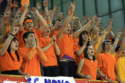 Fans of Novo mesto at SKL finals volleyball match between Solski center Novo mesto and Solski center Slovenj Gradec followed by cup and medal ceremony, on April 22, 2009, in Hall Tivoli, Ljubljana, Slovenia. Win of SC Novo mesto.  (Photo by Vid Ponikvar / Sportida)