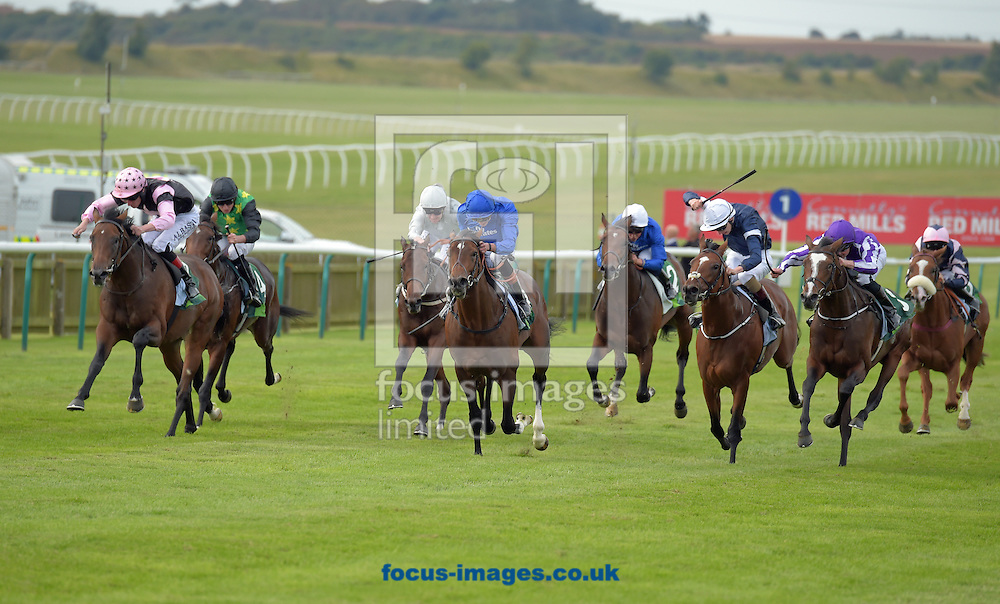 Best Of Days ridden by James Doyle (royal blue) wins Juddmonte Royal lodge Stakes on the Saturday of The Cambridgeshire Meeting on the Rowley Mile Course, Newmarket, UK.<br /> Picture by Martin Lynch/Focus Images Ltd 07501333150<br /> 24/09/2016