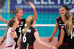 06.09.2013, Gery Weber Stadion, Halle, GER, Volleyball EM 2013, Deutschland vs Spanien, im Bild,, Jubel Lenka Duerr (#1 GER), Maren Brinker (#4 GER), Jennifer Geerties (#6 GER), Corina Ssuschke-Voigt (#9 GER), Margareta Kozuch (#14 GER) // during the volleyball european championchip match between Germany and Spain at the Gery Weber Stadion in Halle, Germany on 2013/09/06. EXPA Pictures © 2013, PhotoCredit: EXPA/ Eibner/ Kurth<br /> <br /> ***** ATTENTION - OUT OF GER *****