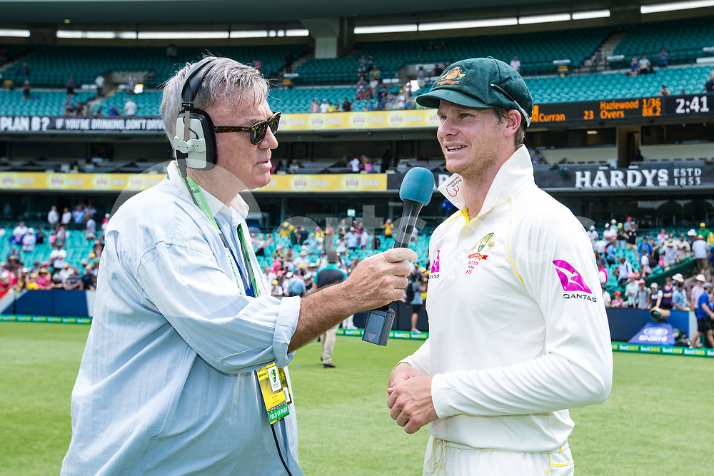 Australian legend Greg Matthews interviews Steve Smith after winning the Ashes during day 5 of the fifth test match during the 2017/18 Ashes Series between Australia and England at  Sydney Cricket Ground, Sydney, Australia on 8 January 2018. Photo by Peter Dovgan.