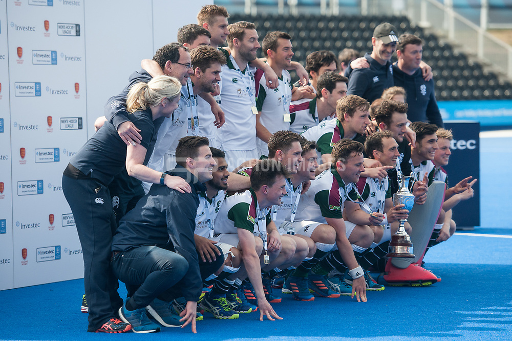 Surbiton with the trophy. Wimbledon v Surbiton - Men's Hockey League Final, Lee Valley Hockey & Tennis Centre, London, UK on 23 April 2017. Photo: Simon Parker