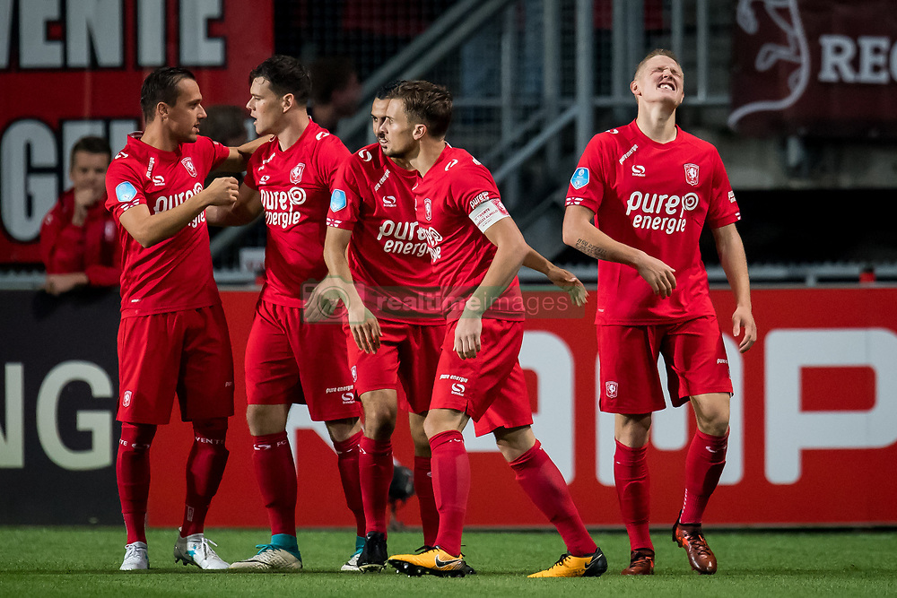 (L-R) Michael Liendl of FC Twente, Tom Boere of FC Twente, Oussama Assaidi of FC Twente, Hidde ter Avest of FC Twente, Hans Fredrik Jensen of FC Twente 1-0 during the Dutch Eredivisie match between FC Twente Enschede and Heracles Almelo at the Grolsch Veste on September 29, 2017 in Enschede, The Netherlands