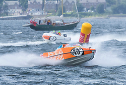 The P1 Scottish Grand Prix of the Sea is the second of four events across the UK for the P1 Powerboat Championship taking place at Greenock.<br /> <br /> Pictured: Experience Kissimmee team leading Platinum Products team