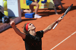 MUNICH, May 7, 2018  Germany's Alexander Zverev celebrates after the men's singles final match of BMW Open 2018 against his compatriot Philipp Kohlschreiber in Munich, Germany, on May 6, 2018. Alexander Zverev won 2-0 to claim the title. (Credit Image: © Philippe Ruiz/Xinhua via ZUMA Wire)