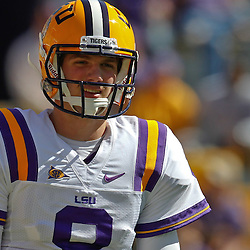 October 1, 2011; Baton Rouge, LA, USA;  LSU Tigers quarterback Zach Mettenberger (8) prior to kickoff of a game against the Kentucky Wildcats at Tiger Stadium.  Mandatory Credit: Derick E. Hingle-US PRESSWIRE / © Derick E. Hingle 2011