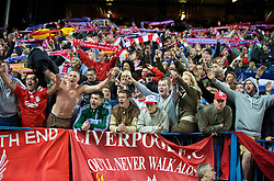 MADRID, SPAIN - Wednesday, October 22, 2008: Liverpool's supporters sing at the end of their 1-1 draw with Club Atletico de Madrid during the UEFA Champions League Group D match at the Vicente Calderon. (Photo by David Rawcliffe/Propaganda)