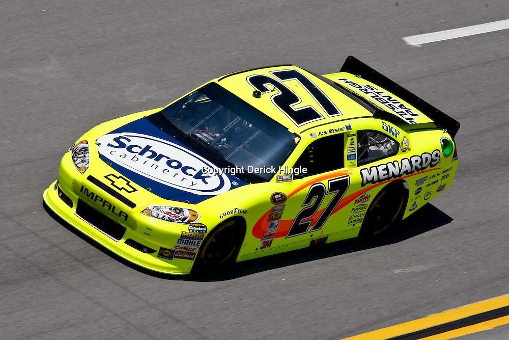 April 17, 2011; Talladega, AL, USA; NASCAR Sprint Cup Series driver Paul Menard (27) during the Aarons 499 at Talladega Superspeedway.   Mandatory Credit: Derick E. Hingle