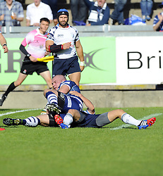 Bristol Rugby's James Hall scores a try - Photo mandatory by-line: Joe Meredith/JMP - Tel: Mobile: 07966 386802 06/10/2013 - SPORT - FOOTBALL - RUGBY UNION - Memorial Stadium - Bristol - Bristol Rugby V Bedford Blues - The Championship