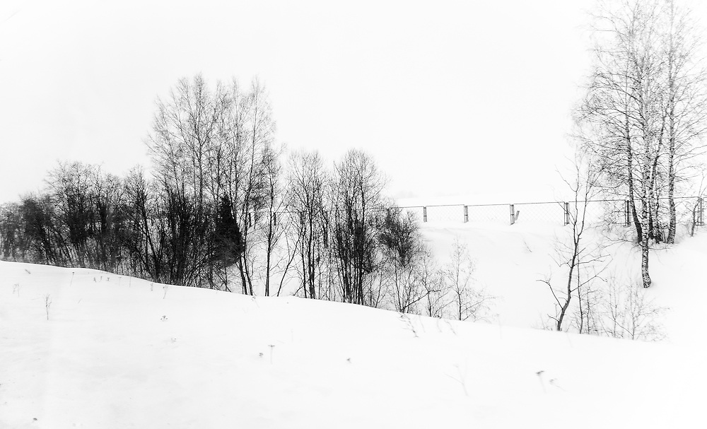 Snowed landscape in a rural region of Russia