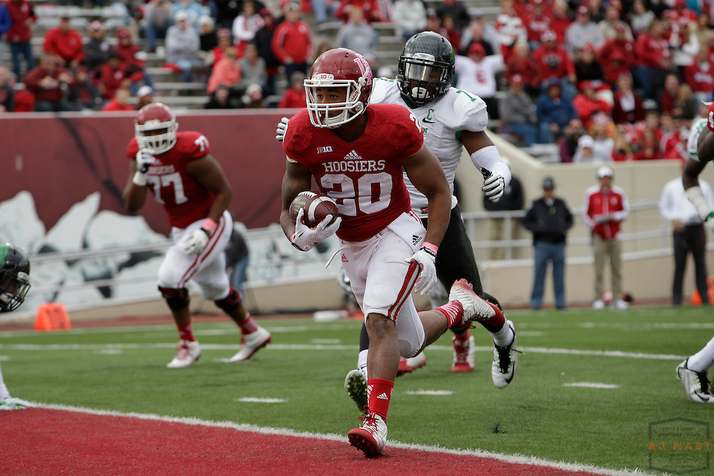 04 October 2014: Indiana Hoosiers running back D'Angelo Roberts (20)  as the Indiana Hoosiers played North Texas in a NCAA college football game in Bloomington, IN.