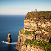 O'Briens Tower marks the tallest point of the Cliffs of Moher. County Clare, Ireland