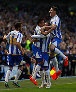 Jesse Lingard of Brighton and Hove Albion (2nd left) celebrates scoring the opening goal with team mated during the Sky Bet Championship play off semi final first leg at the American Express Community Stadium, Brighton and Hove<br /> Picture by David Horn/Focus Images Ltd +44 7545 970036<br /> 08/05/2014