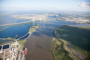 Houston Ship Channel looking South. Alexander Island on the right, Black Duck Bay on the left. Fred Hartman bridge in the distance.