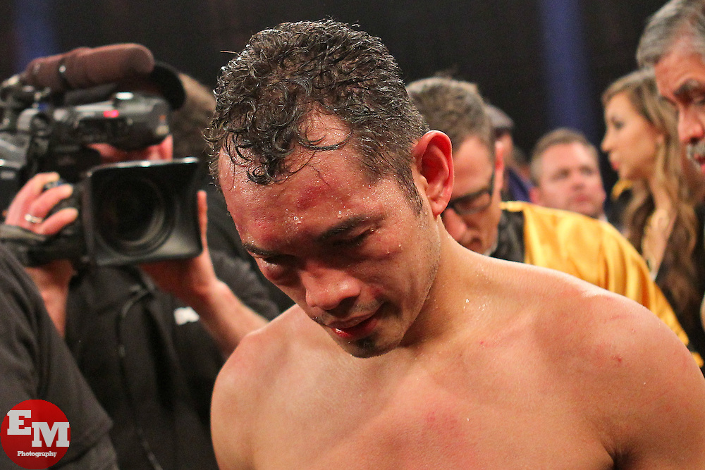 Apr 13, 2013; New York, NY, USA; Nonito Donaire reacts after losing his 12 round WBO/WBA Super Bantamweight title fight to and Guillermo Rigondeaux (not shown) at Radio City Music Hall.