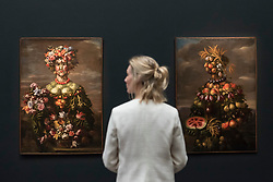 "© Licensed to London News Pictures. 01/12/2017. London, UK.  A staff member views two from ""The Four Seasons: Four Anthromophorphic Figures"", series, Rome 1608, After 1673, attributed to Giovanni Stanchi, (Est. GBP250-350k).  Preview of ""Masters of Light"", Sotheby's Old Masters Evening Sale which will take place on 6 December at Sotheby's, New Bond Street. Photo credit: Stephen Chung/LNP"
