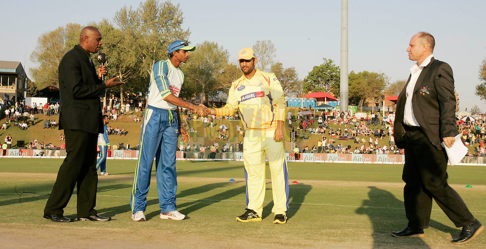 Wayamba player Jehan Mubarak  and Superkings player MS Dhoni during match 9 of the Airtel CLT20 held between the Chennai Super Kings v Wayamba Elevens at Supersport Park in Centurion on the 15 September 2010..Photo by: Abbey Sabetha/SPORTZPICS/CLT20