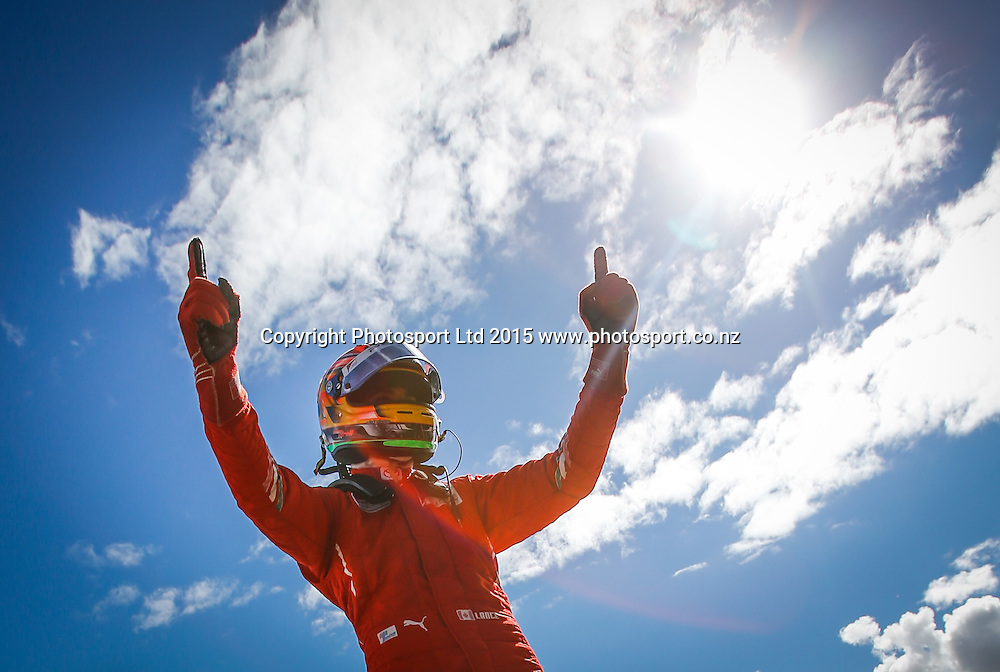 Lance Stroll celebrates after winning the New Zealand Grand Prix -Toyota Racing Series, Manfeild Motorsport Park, Feidling, New Zealand. Sunday, 15 February, 2015. Photo: John Cowpland / www.photosport.co.nz