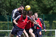 Dundee&rsquo;s Marcus Haber oujumps Kostadin Gadzhalov and Kerr Waddell -  Dundee FC - Pre-season training at University Grounds, Riverside, Dundee, Photo: David Young<br /> <br />  - &copy; David Young - www.davidyoungphoto.co.uk - email: davidyoungphoto@gmail.com