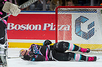 KELOWNA, CANADA - OCTOBER 21:  James Hilsendager #2 of the Kelowna Rockets grimaces in pain on the ice against the Portland Winterhawks on October 21, 2017 at Prospera Place in Kelowna, British Columbia, Canada.  (Photo by Marissa Baecker/Shoot the Breeze)  *** Local Caption ***