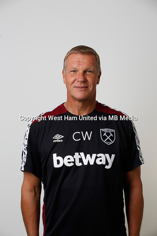 LONDON, ENGLAND - AUGUST 06:  Goalkeeping Coach Chris Woods of West Ham poses during a Premier League portrait session on August 6, 2016 in London, England. (Photo by Tom Shaw/Getty Images)