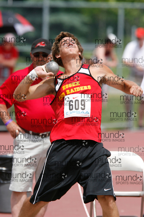 (London, Ontario}---04 June 2010) Josh Dame of Essex - Essex competing in the junior boys shot put at the 2010 OFSAA Ontario High School Track and Field Championships. Photograph copyright Dave Chidley / Mundo Sport Images, 2010.
