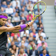 2019 US Open Tennis Tournament- Day Fourteen.   Rafael Nadal of Spain in action against Danill Medvedev of Russia in the Men's Singles Final on Arthur Ashe Stadium during the 2019 US Open Tennis Tournament at the USTA Billie Jean King National Tennis Center on September 8th, 2019 in Flushing, Queens, New York City.  (Photo by Tim Clayton/Corbis via Getty Images)