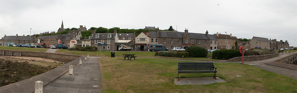 Seatown Road, Lossiemouth looking from banks of River Lossie