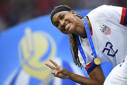 July 7, 2019 - Lyon, France - Jessica Mcdonald (NC Courage) of United States celebrates after winning the 2019 FIFA Women's World Cup France Final match between The United State of America and The Netherlands at Stade de Lyon on July 7, 2019 in Lyon, France. (Credit Image: © Jose Breton/NurPhoto via ZUMA Press)